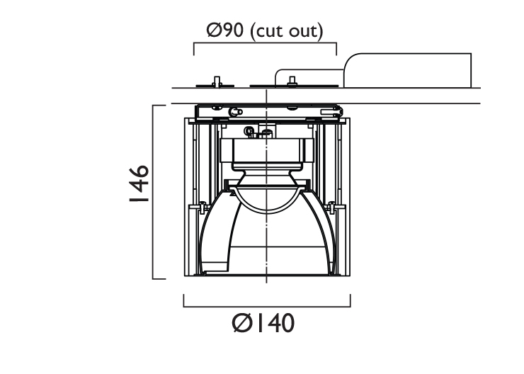 Surface VP X140 Kick Wallwasher Line Drawing